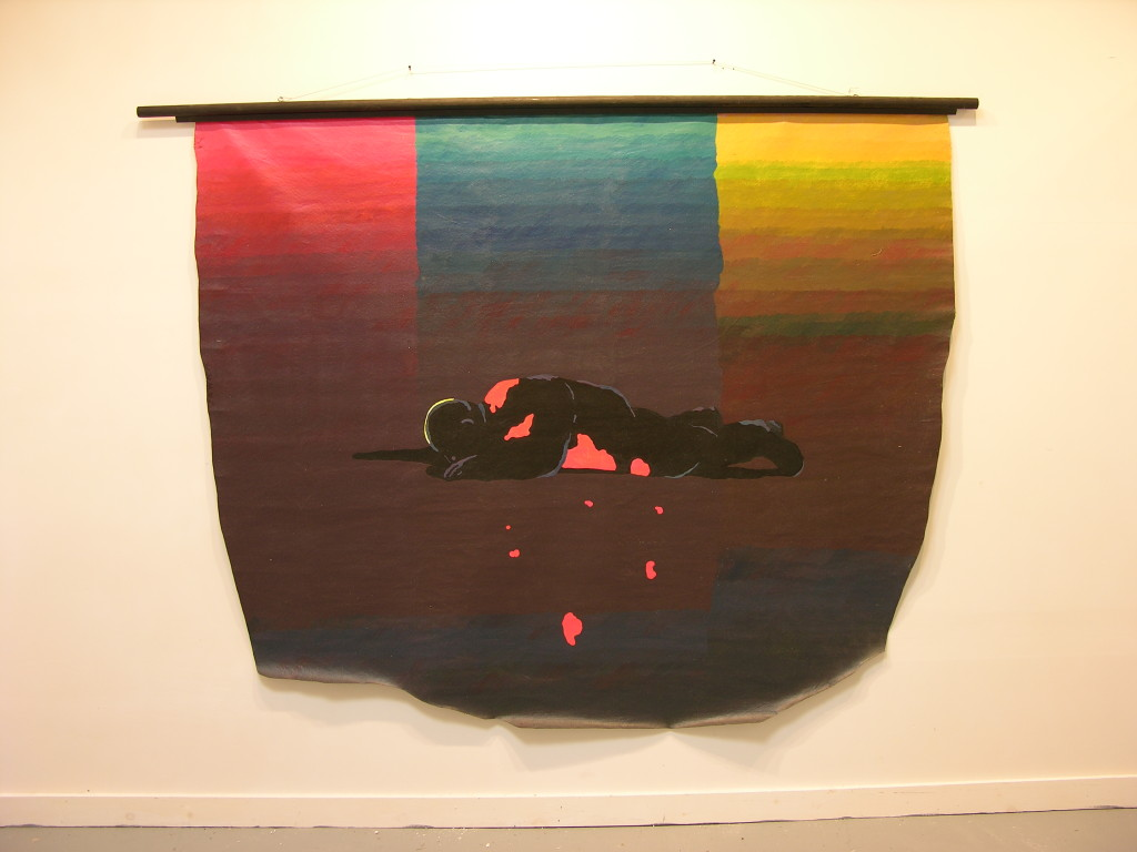 Jan Sawka banner painting of fallen person, revolution