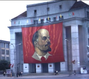 High impact graphic banners were used within the Soviet Union as visual reinforcements of the system, as well as the cults of personalities of Lenin and Stalin. Banners such as this one in 1980's Moscow, were part of the childhood landscape of Jan Sawka's Poland.